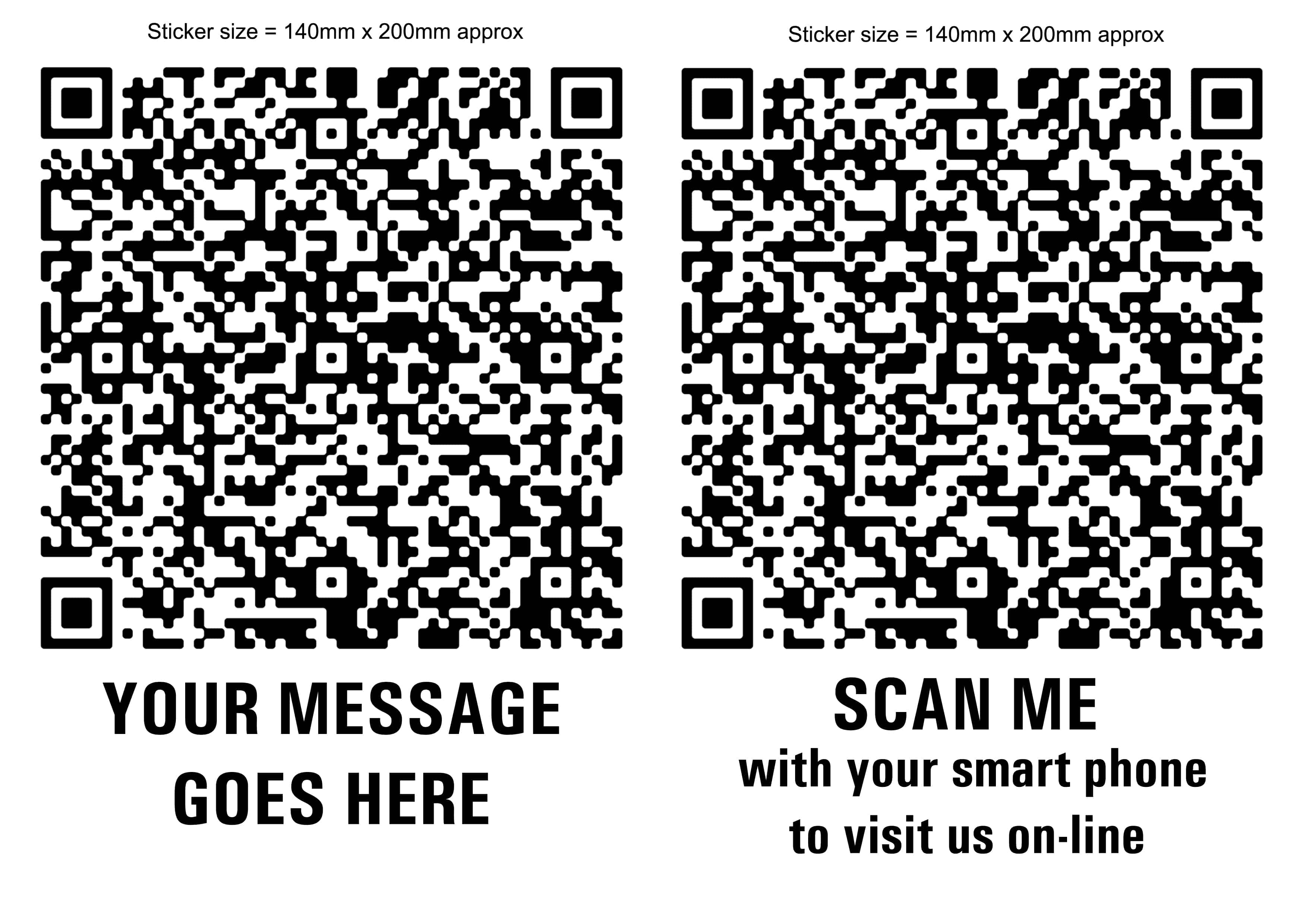 Sizes and prices of qr code stickers and labels 2 large qr code stickers with message bw magicingreecefo Gallery