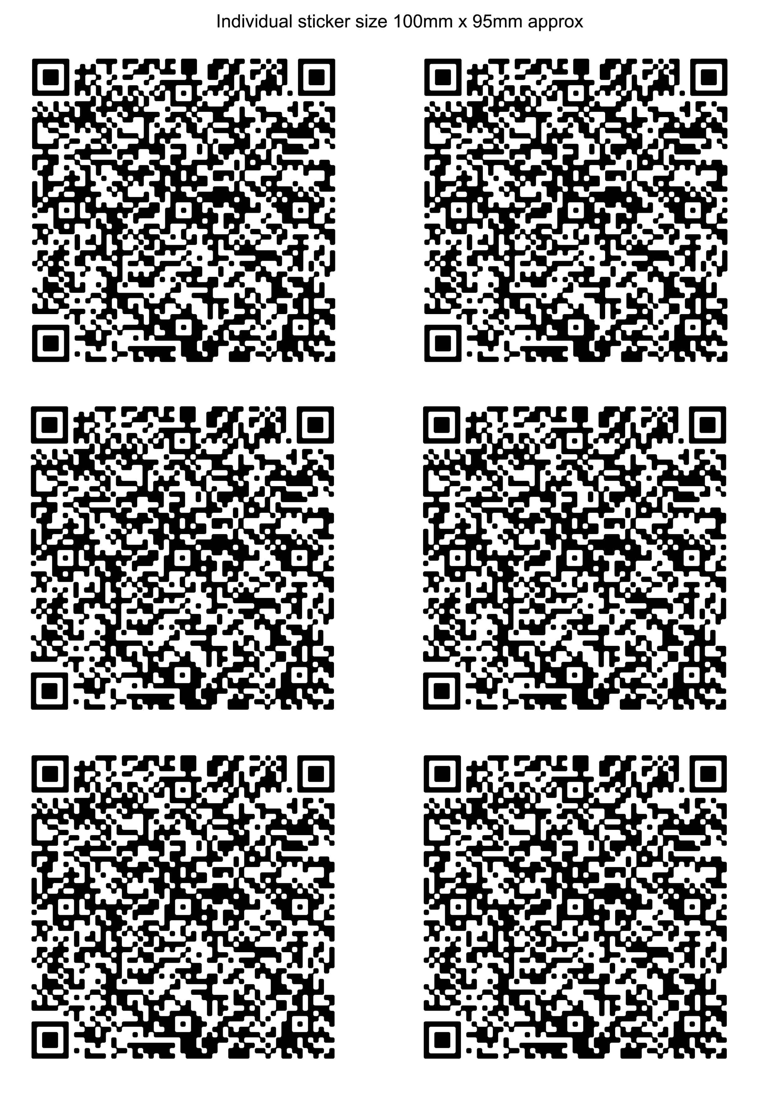 Sizes and prices of qr code stickers and labels 6 100 x 100 qr code stickers for vehicles vans etc magicingreecefo Gallery